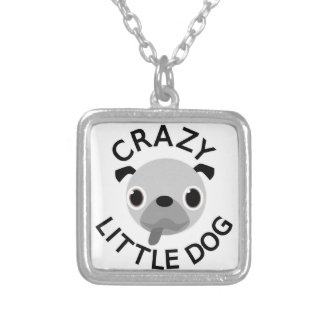 Pug Crazy Little Dog Silver Plated Necklace