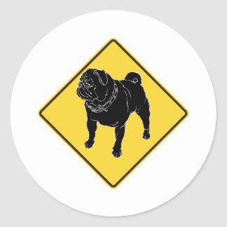 Pug Crossing Round Sticker