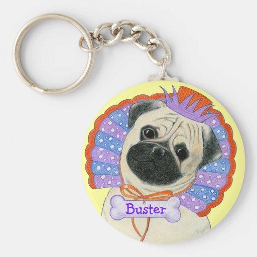 Pug Customizable Name Keychain