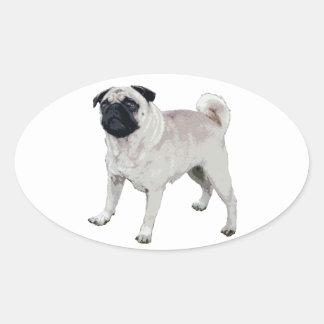 Pug cutie oval sticker
