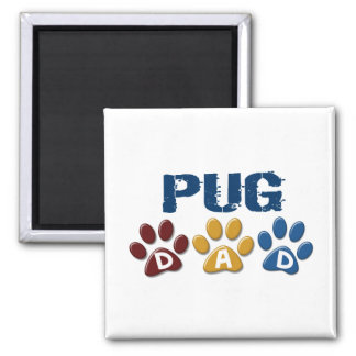 PUG Dad Paw Print 1 Square Magnet