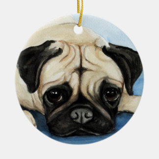 Pug Dog Art Ornament