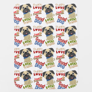 Pug Dog Best Friend Baby Blanket