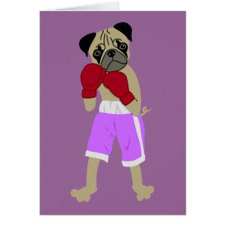 Pug Dog Boxing Gloves Boxer Card