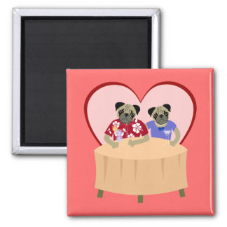 Pug Dog Boy and Girl Love Square Magnet