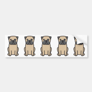 Pug Dog Cartoon Bumper Sticker