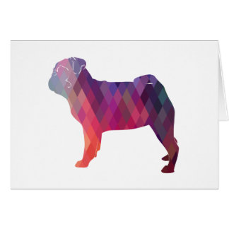 Pug Dog Colorful Geometric Pattern Silhouette Card