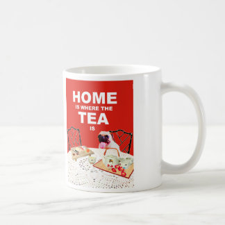 Pug Dog Mug - Home is where the Tea is