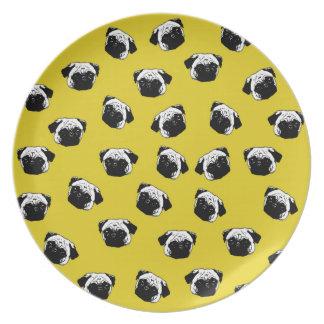 Pug dog pattern dinner plate