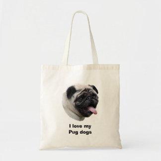 Pug dog photo portrait canvas bags