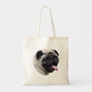 Pug dog photo portrait tote bags