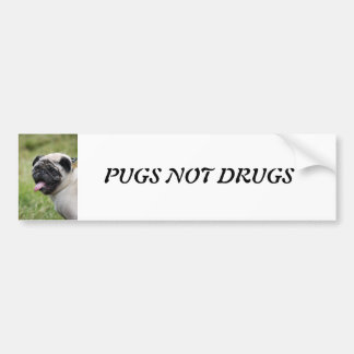 Pug dog, pugs not drugs cute custom bumper sticker
