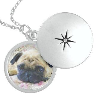 Pug dog round locket necklace