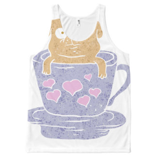 Pug dog sitting in purple  cup with heart. All-Over print tank top