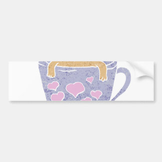 Pug dog sitting in purple  cup with heart. bumper sticker
