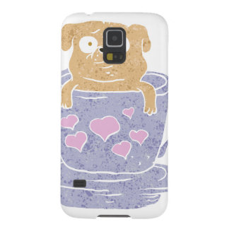 Pug dog sitting in purple  cup with heart. case for galaxy s5