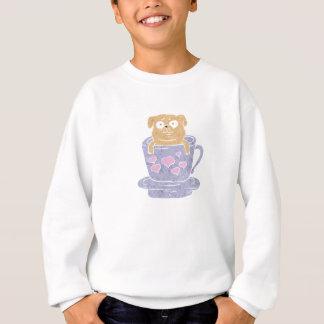 Pug dog sitting in purple  cup with heart. sweatshirt