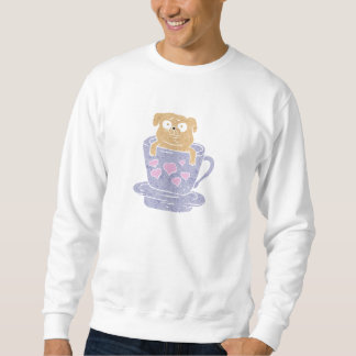 Pug dog sitting in purple  cup with heart. sweatshirt