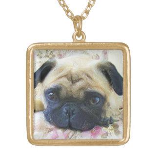Pug dog square pendant necklace