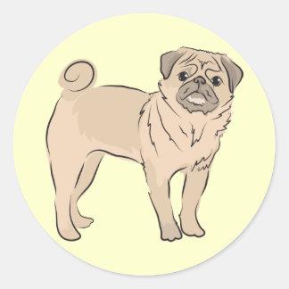 PUG dog standing alone cute! Round Stickers