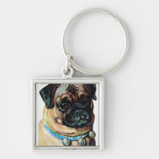 Pug Dog Vintage Key Ring