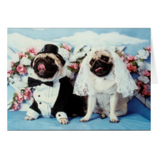 Pug Dog Wedding Card