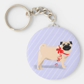 Pug Dog with Red Ribbon Keychain