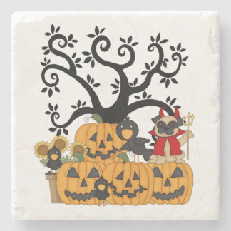 Pug Dogs and Pumpkins Stone Beverage Coaster