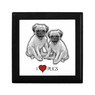 Pug Dogs, I Love Pugs, Pencil Art, Heart Gift Box