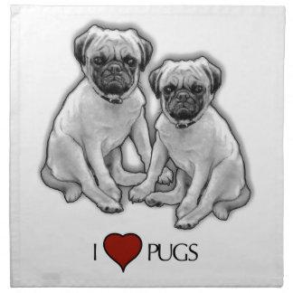 Pug Dogs, I Love Pugs, Pencil Art, Heart Napkin