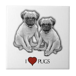 Pug Dogs, I Love Pugs, Pencil Art, Heart Tile