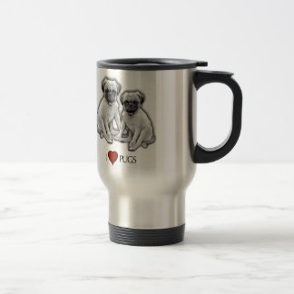 Pug Dogs, I Love Pugs, Pencil Art, Heart Travel Mug