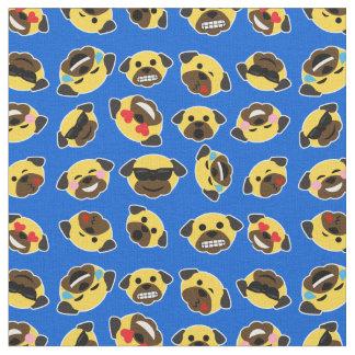 Pug Emoji Emoticon Pattern Fabric