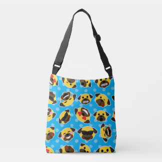 Pug Emoticons (Emojis) Pattern Love Laugh Kiss Crossbody Bag