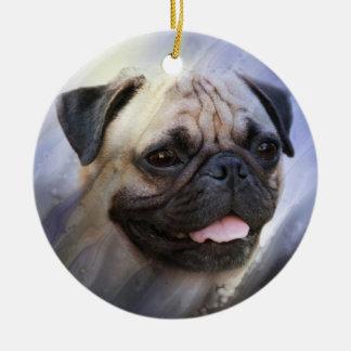 Pug face ceramic ornament