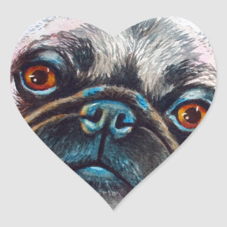 Pug Face Close up Heart Sticker