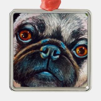 Pug Face Close up Metal Ornament
