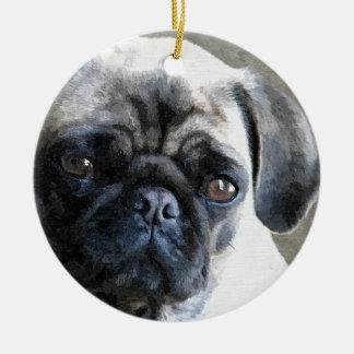 Pug Face Round Ceramic Decoration