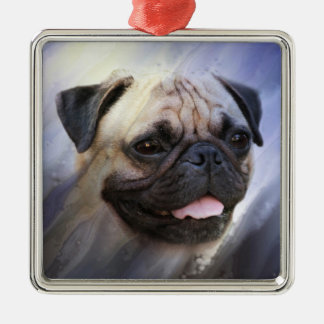 Pug face metal ornament