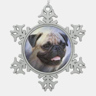 Pug face snowflake pewter christmas ornament