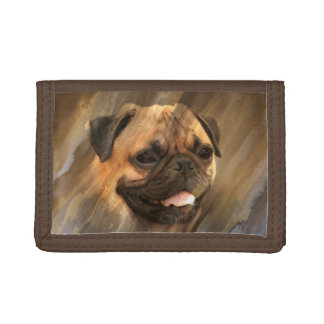 Pug face tri-fold wallets