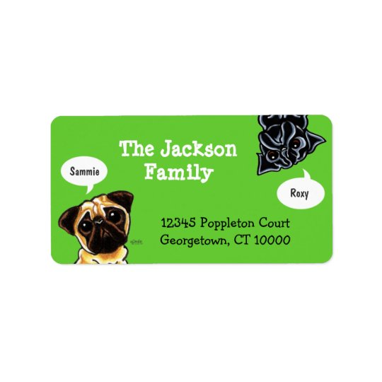 Pug Family Pet Name Personalised Custom Colour Label