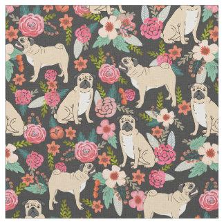 Pug Florals fabric print design pet fabrics