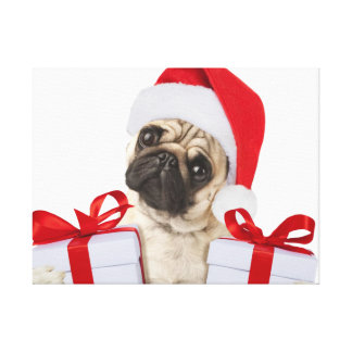Pug gifts - dog claus - funny pugs - funny dogs canvas print