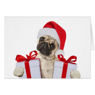 Pug gifts - dog claus - funny pugs - funny dogs card