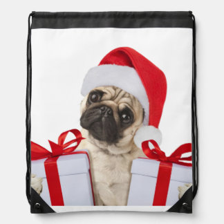 Pug gifts - dog claus - funny pugs - funny dogs drawstring bag