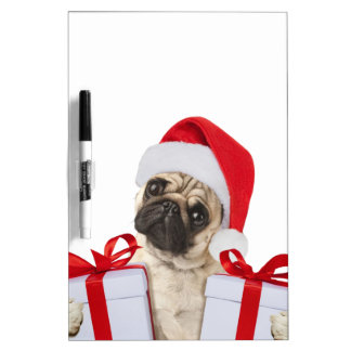 Pug gifts - dog claus - funny pugs - funny dogs dry erase board
