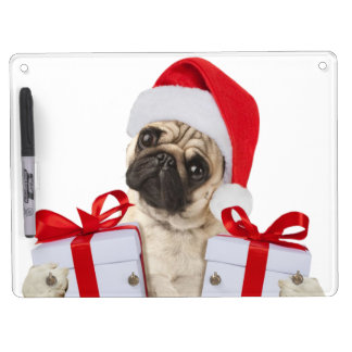 Pug gifts - dog claus - funny pugs - funny dogs dry erase board with key ring holder