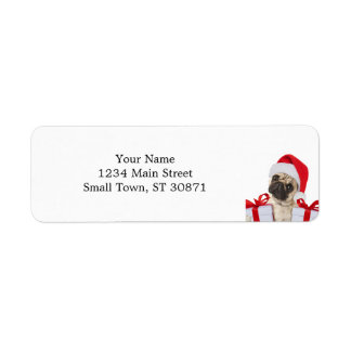 Pug gifts - dog claus - funny pugs - funny dogs return address label