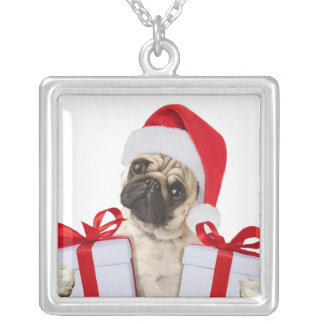 Pug gifts - dog claus - funny pugs - funny dogs silver plated necklace